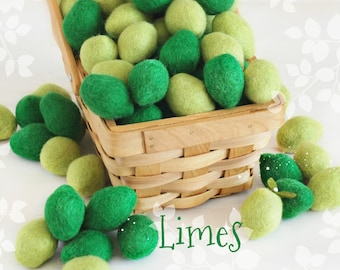 "Wool Felt Limes - Size, Approx. 1.5"" x 1.25"" - Felt Limes - Cute Wool Felt Limes - Wet Felted Limes - Lime Theme Party Decor - Green Limes"