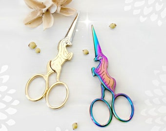 Unicorn Embroidery Scissors - Small Scissors- Gold Unicorn Shears - Gold Horse Scissors - Rainbow Unicorn Scissors - Unicorn Snips