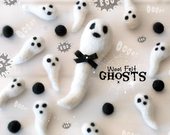 Felted Ghosts - Wool Felt Ghost - DIY Garland - Halloween Decoration - Holiday Decor - Ghosts for Halloween - Wool Felt Ghosts - Halloween