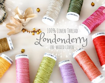 Linen Embroidery Thread - Non waxed Linen Thread - 100% Linen 50/3 - Londonderry Thread - Smooth Linen Thread - Londonderry Linen Thread