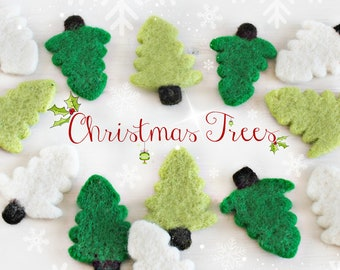 Wool Felt Christmas Trees - Cute Wet Felted Christmas Trees - Green Christmas Trees - White Christmas Trees - Christmas Garland Decoration
