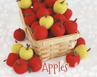 "Wool Felt Apples - Size, Approx. 2.5"" x 2"" - Red Apples - Cute Wool Felt Apples - Wet Felted Apples - Felt Green Apples - Felt Yellow Apples"