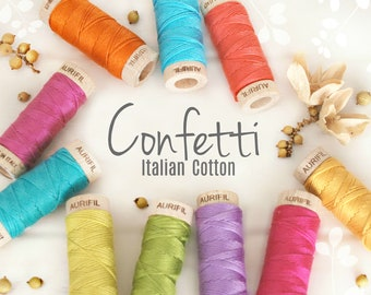 Embroidery Cotton Floss - Aurifil Cotton Floss - Aurifloss Embroidery Thread- Colorful Stitching Floss - 6 Strands - Confetti Colors Thread