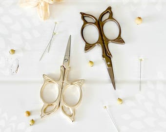 Butterfly Embroidery Scissors - Small Scissors- Gold Butterfly Shears - Bronze Butterfly Scissors - Gold Scissors - Butterfly Small Snips