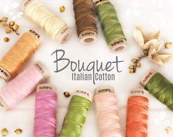 Embroidery Cotton Floss - Aurifil Cotton Floss - Aurifloss Embroidery Thread - Colorful Embroidery Floss - 6 Strands - Flower Colors Thread