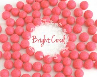 Wool Felt Balls - Size, Approx. 2CM - (18 - 20mm) - 25 Felt Balls Pack - Color Bright Coral-4063 - Felt Pom Poms - Bright Coral Felt Balls