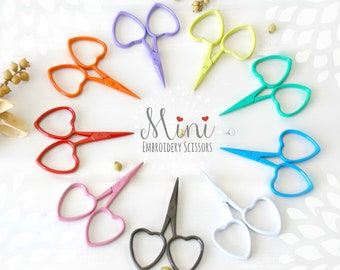 Embroidery Scissors - Colorful Mini Scissors - Shears - Ribbon Scissors - Mini Scissor- Heart Embroidery Scissors - Cute Mini Heart Scissors