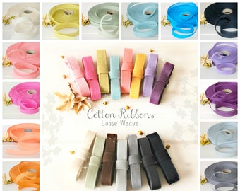 "Cotton Ribbons - 3 or 6 Yards of 100% Cotton Ribbon - 1/2"" Wide - Ribbons for Weddings -Eco Friendly Ribbons -Colorful Cotton Ribbons - Trim"