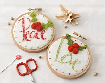 Holly Berry Ornament Kit - Iron On Patterns - DIY Ornament - Holiday Stitching Pattern Kit - DIY Christmas Ornament Hoop Art Kit - Set of 2