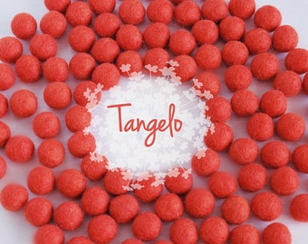 Wool Felt Balls - Size, Approx. 2CM - (18 - 20mm) - 25 Felt Balls Pack - Color Tangelo-5030- 2CM Tangelo Felt Balls - Deep Orange Felt Balls
