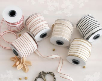 "Cotton Ribbons - Rose Gold Ribbon - Gold Ribbon - Natural Cotton Ribbon - Metallic Ribbons - Loose Weave - DRITTOFILO - 3/8"" Cotton Ribbons"