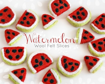 Little Felt Watermelon Slices- Wet Felted Watermelon - Cute Felted Watermelon Slices - Watermelon 1/2 slices - Party Decor for Summer -10pcs