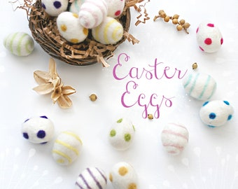 Little Felt Easter Eggs - Size, Approx. 3cm x 2.5cm - Little Felted Eggs - Wool Felt Eggs - Cute Felt Eggs - Easter Decor - 10 or 20 Eggs