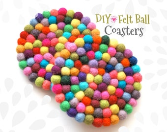 DIY - Felt Ball Coasters Kit - Fun Coaster Kit - Two Wooden Coasters & Colorful Felt Balls for a DIY Kit - Round Coasters - Square Coasters