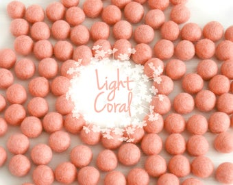 Wool Felt Balls - Size, Approx. 2CM - (18 - 20mm) - 25 Felt Balls Pack - Color Light Coral-4062- 2CM Coral Pom Poms - Coral Wool Felt Balls