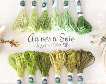 Silk Thread- Au Ver a Soie Silk Thread - 100% Silk Thread Shades of Green - Green Silk Thread - Green Stitching Thread - French d'Alger Silk