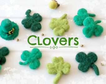 "Little Felt Clovers - Approx. 2"" x 2""- Small Green Clovers - Green Little Clovers - Cute Wool Felted Clovers - Lucky Charms - Felted Clovers"