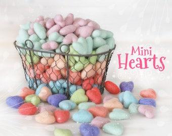 """Mini Hearts - Mini Stars - 10 Wool Felt Hearts or Stars - Size Approx. 1"""" x 1"""" - 10 Felted Mini Stars - Pastel  Colors - Mini Wool Hearts"""