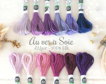 Silk Thread - Au Ver a Soie Silk Thread - 100% Silk Thread Shades of Purple - Lilac Silk Thread - Violet Color Thread - French d'Alger Silk