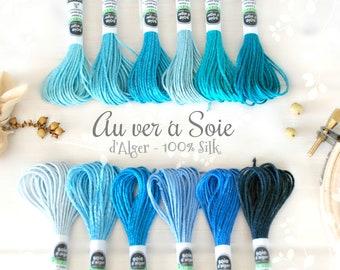 Silk Thread - Au Ver a Soie Silk Thread - 100% Silk Thread Shades of Blue - Blue Silk Thread - Blue Stitching Thread - French d'Alger Silk