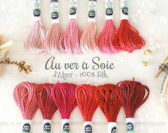 Silk Thread - Au Ver a Soie Silk Thread - 100% Silk Thread Shades of Pink - Rose Silk Thread - Coral Color Thread - French d'Alger Red Floss
