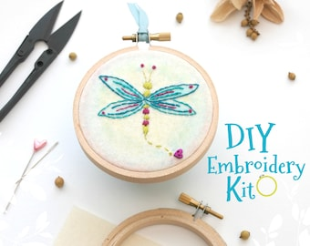 Dragonfly Embroidery Patterns - DIY Embroidery Kit - Kid's Cute Stitching Patterns - DIY Beginners Stitching Kit - Iron On Dragonfly - DIY