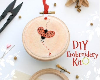 Ladybug Embroidery Patterns - DIY Embroidery Kit - Kid's Cute Stitching Patterns - DIY Beginners Stitching Kit - Iron On Ladybug - DIY