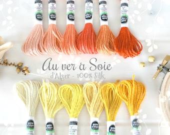 Silk Thread - Au Ver a Soie Silk Thread- 100% Silk Thread Shades of Peach- Yellow Silk Thread - Orange Color Thread - French d'Alger Yellows