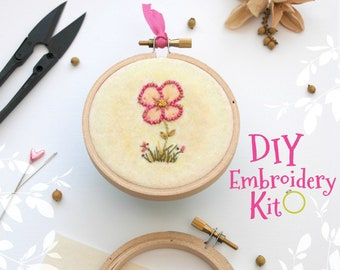 Pink Flower Embroidery Patterns - DIY Embroidery Kit - Cute Stitching Patterns - DIY Beginners Stitching Kit - Iron On Pink Flower #1 - DIY