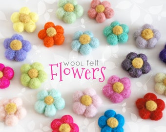 "Little Felt Flowers - Size, Approx. 1.5"" x 1.5""- Colorful Felt Flowers - Felted Flowers - Cute Felt Flowers - Spring Flowers - 20pcs Pack"