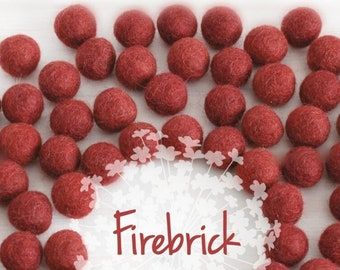 Wool Felt Balls - Size, Approx. 2CM - (18 - 20mm) - 25 Felt Balls Pack - Color Firebrick-5040-Dark Brick fetl balls - 2CM Wool Felt Balls