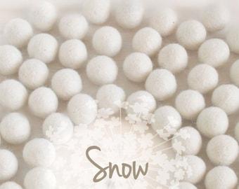 Wool Felt Balls - Size, Approx. 2CM - (18 - 20mm) - 25 Felt Balls Pack - Color Snow-8010 - 2CM White Pom Poms - Off White Felt Balls