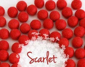 Wool Felt Balls - Size, Approx. 2CM - (18 - 20mm) - 25 Felt Balls Pack - Color Scarlet Red-4070 - Felt Pom Poms - 2CM Red Felt Balls - Beads