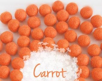 Wool Felt Balls - Size, Approx. 2CM - (18 - 20mm) - 25 Felt Balls Pack - Color Carrot-5025 - Wool Felt Pom Poms - 2CM Orange Wool Felt Balls