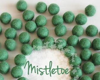Wool Felt Balls - Size, Approx. 2CM - (18 - 20mm) - 25 Felt Balls Pack - Color Mistletoe-1053 - Green Wool Felt Balls - Green Felt Pom Poms