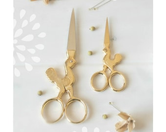 Rooster Gold Scissors - Large Shears - Large Gold Scissors -  Rooster Sharp Scissor - Rooster Scissors - Rooster Year Gold Scissors - Shears