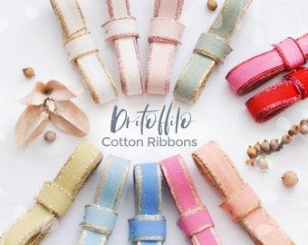 "Cotton Ribbons - Rose Gold Ribbon - Gold Ribbon - Natural Cotton Ribbon - Metallic Ribbons - Loose Weave - DRITTOFILO - 3/8"" Cotton Ribbons"