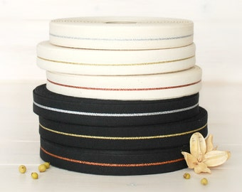 """Natural Cotton Ribbon with Silver - By the Yard - Wedding Ribbon - 5/8"""" wide - DIY Weddings - Cotton Ribbon - Etsy Weddings - Cotton Trims"""