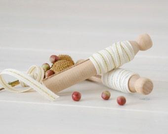 "2 Yards Sampler - Natural Cotton Ribbon with Metallic Thread - Wedding Ribbon - 1/4"" Wide - DIY Weddings - Metallic Ribbons Sampler - Cotton"
