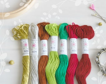 "Embroidery Floss ""Christmas Tree"" - 7 Skeins Pack - Embroidery Thread by Sublime - Christmas Pallete - Sublime Stitching - Cotton Floss"