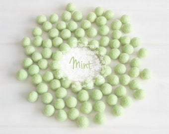 Wool Felt Balls - Size, Approx. 2CM - (18 - 20mm) - 25 Felt Balls Pack - Color Mint-1010 - Wool Felt Pom Pom - Soft Green Felt Balls
