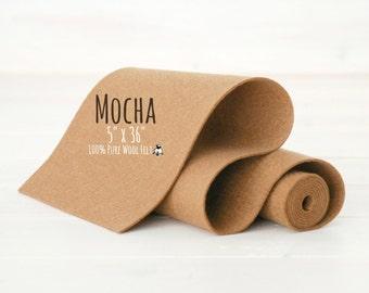 "100% Merino Wool Felt Roll - 5"" x 36"" Wool Felt - Color Mocha-7050 - Pure Wool Felt - Brown Wool Felt - Mocha Color Wool Felt - Brown Felt"