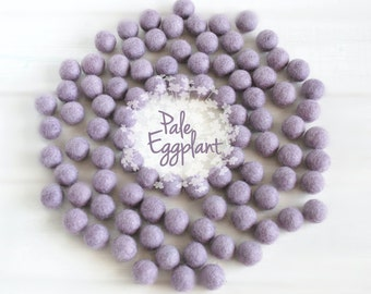 Wool Felt Balls - Size, Approx. 2CM - (18 - 20mm) - 25 Felt Balls Pack - Color Pale Eggplant-3047- Smokey Lilac Poms - Frozen Lilac Balls