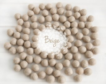 Wool Felt Balls - Size, Approx. 2CM - (18 - 20mm) - 25 Felt Balls Pack - Color Beige-7010 - 2CM Felt Balls - Beige Color Felt Balls - Latte