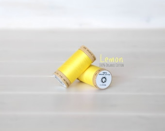 Organic Cotton Thread GOTS - 300 Yards Wooden Spool  - Thread Color Lemon - No. 4803 - Eco Friendly Thread - 100% Organic Cotton Thread