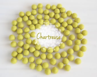 Wool Felt Balls - Size, Approx. 2CM - (18 - 20mm) - 25 Felt Balls Pack - Color Chartreuse-1015 - Chartreuse Felt Balls - Felt Pom Poms