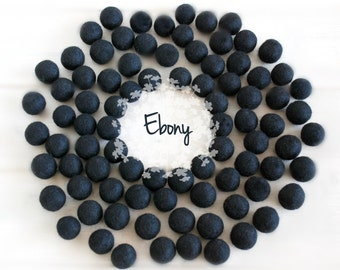 Wool Felt Balls - Size, Approx. 2CM - (18 - 20mm) - 25 Felt Balls Pack - Color Ebony-8040 - 2CM Pom Poms - 2CM Black Color Felt Balls