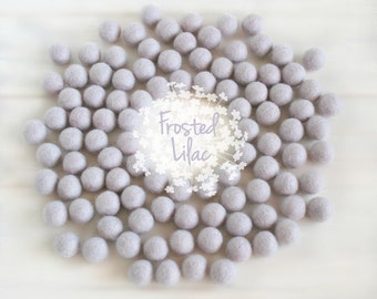 Wool Felt Balls - Size, Approx. 2CM - (18 - 20mm) - 25 Felt Balls Pack - Color Frosted Lilac-3042 - Frosted Lilac Poms - Frozen Felt Balls