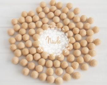 Wool Felt Balls - Size, Approx. 2CM - (18 - 20mm) - 25 Felt Balls Pack - Color Nude-5005 - Nude color fetl balls - 2CM Tan Skin Felt Balls