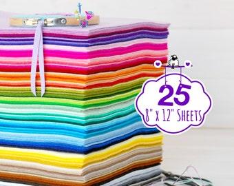 "100% Wool Felt Sheets - 25 Sheets of 8"" X 12"" - Merino Wool Felt - Pure Wool Felt - Merino Felt Sheets - 25 Sheets - You Choose your Colors"